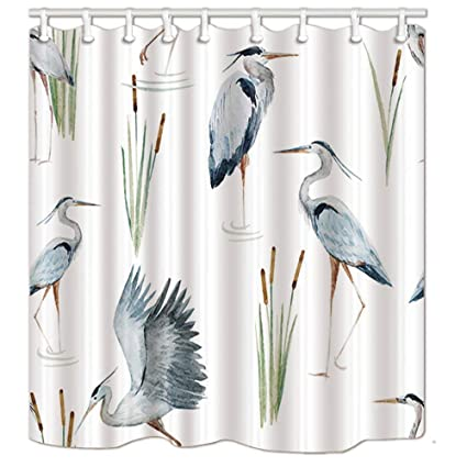 Yaoni Water Birds Shower Curtains Watercolor Flying Crane Plants Polyester Fabric Waterproof Bathroom Bath