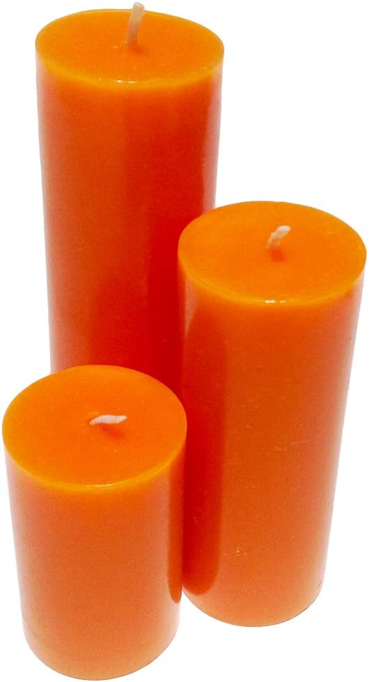 Collumino/® Set of 3 Solid Colour Pillar Candles for Church ~ Wedding ~ Dinner ~ Party ~ Christmas ~ Table ~ Gift Solid Black