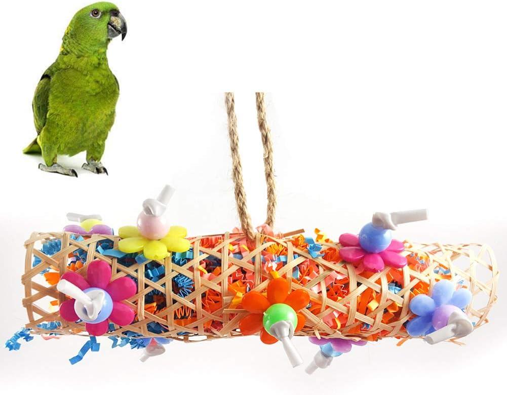 KeKeandYaoYao - Túnel de bambú para Mascotas, diseño de pájaros, para Colgar en Jaula