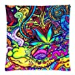 Vivid Psychedelic flower Graffiti Art Custom Rectangle Pillowcase Covers Standard Size 18x18 (Twin sides)