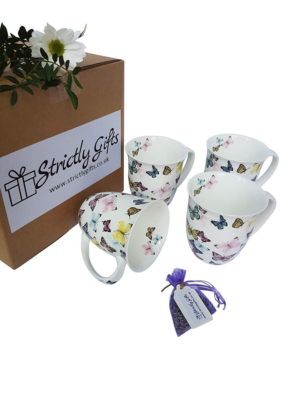 Ensemble de Quatre Mugs avec Design Papillon Porcelaine Fine