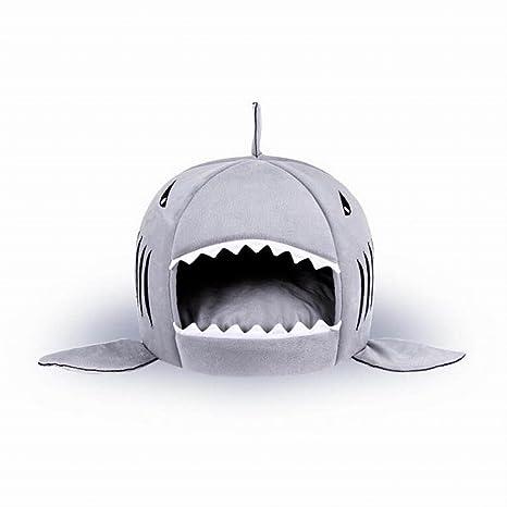 OWIKAR - Caseta de mascotas con tiburón cálido y suave para perro o gato, ...