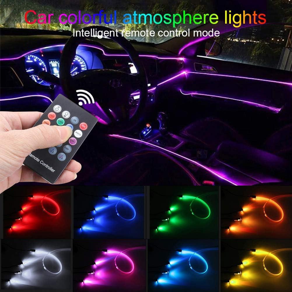 Taben Umgebungslicht Rgb Fernbedienung Auto Atmosphäre Licht Lampe Weiche Diy Refit 4m Glasfaserband 64 Farben Innenbeleuchtung Dekoratives Licht 1w Dc 12v Auto
