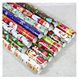 Staron 3pcs Christmas Wrapping Paper Rolls Xmas Gift Wraps Jumbo Wrapping Paper Roll - Christmas Tree Santa Elk Snowflake Wrapping Paper Bundle Present Wrap for Christmas, Birthday, Holiday (C)
