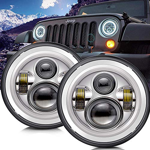 TURBOSII DOT Approved 7'' Round Chrome LED Headlight with High Low Beam White DRL Amber Turn Signal for Jeep Wrangler JK TJ LJ CJ Hummer H1 H2 (Pair)