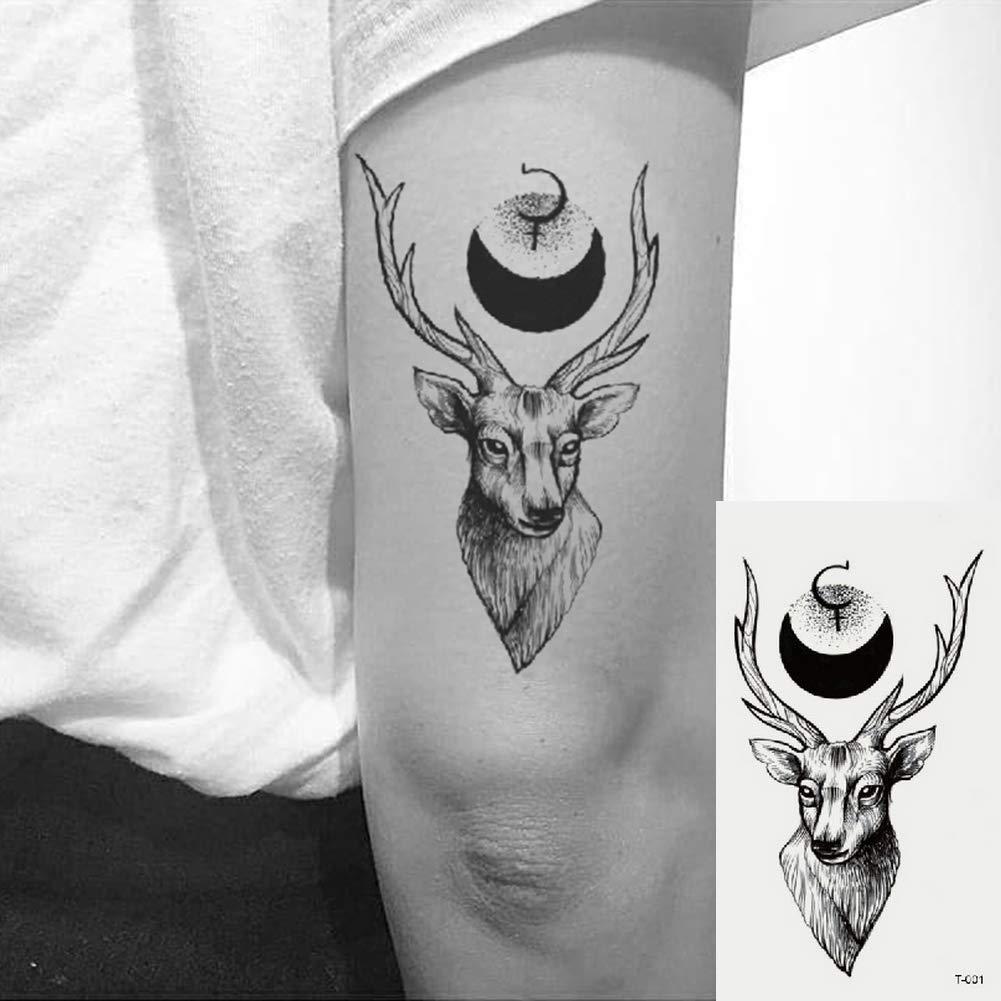 Oottati 2 Hojas Pequeño Lindo Tatuaje Temporal Tattoo Ciervo Negro ...