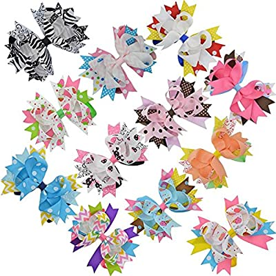 LCLHB 4 inch-5 inch Big Layered & Loopy Fabric Ribbon Bows Alligator Hair Clips