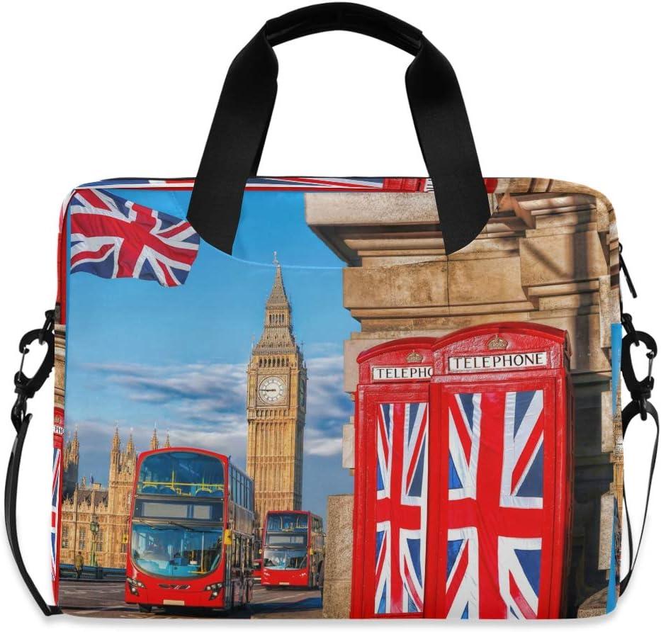 Laptop Bag Briefcase Shoulder Bag - British Flags Phone Booths Big Ben London 15.6 Inch Tote Bag Laptop Messenger Shoulder Bag Laptop Sleeve, Great to Casual