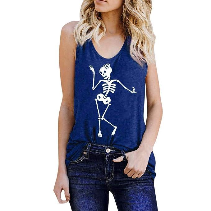 b2b63bf08c93 MEIbax Chaleco de Mujer con Estampado de Calaveras Camiseta de Verano Mujer  Top Suelto sin Mangas