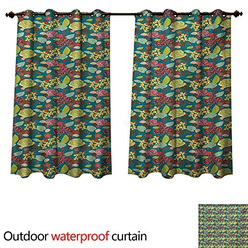 WilliamsDecor Garden Art Outdoor Curtain for Patio Hand Drawn Style Colorful Bedding Plants Roses and Wildflowers with Little Dots W72 x L63(183cm x 160cm)