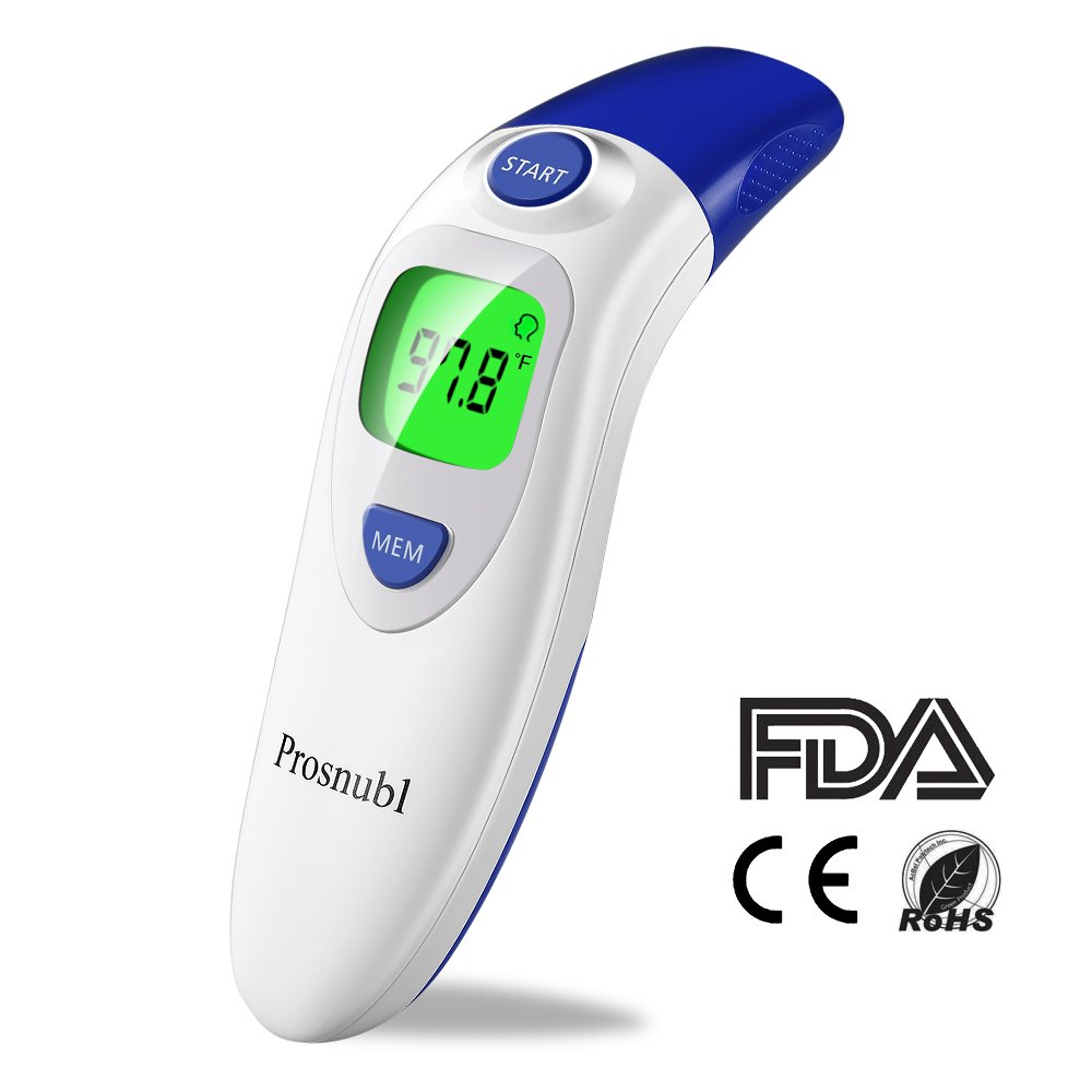 Prosnubl Baby Thermometer, Digital Infrared Forehead and Ear Thermometer for Fever, Medical Temporal Pediatric Thermometer with FDA, Professional Accurate for Infant, Toddler, Child and Adult