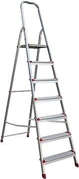 Escalera aluminio 7 peldaños aluminio escalera escalera tipo 41jh007: Amazon.es: Bricolaje y herramientas