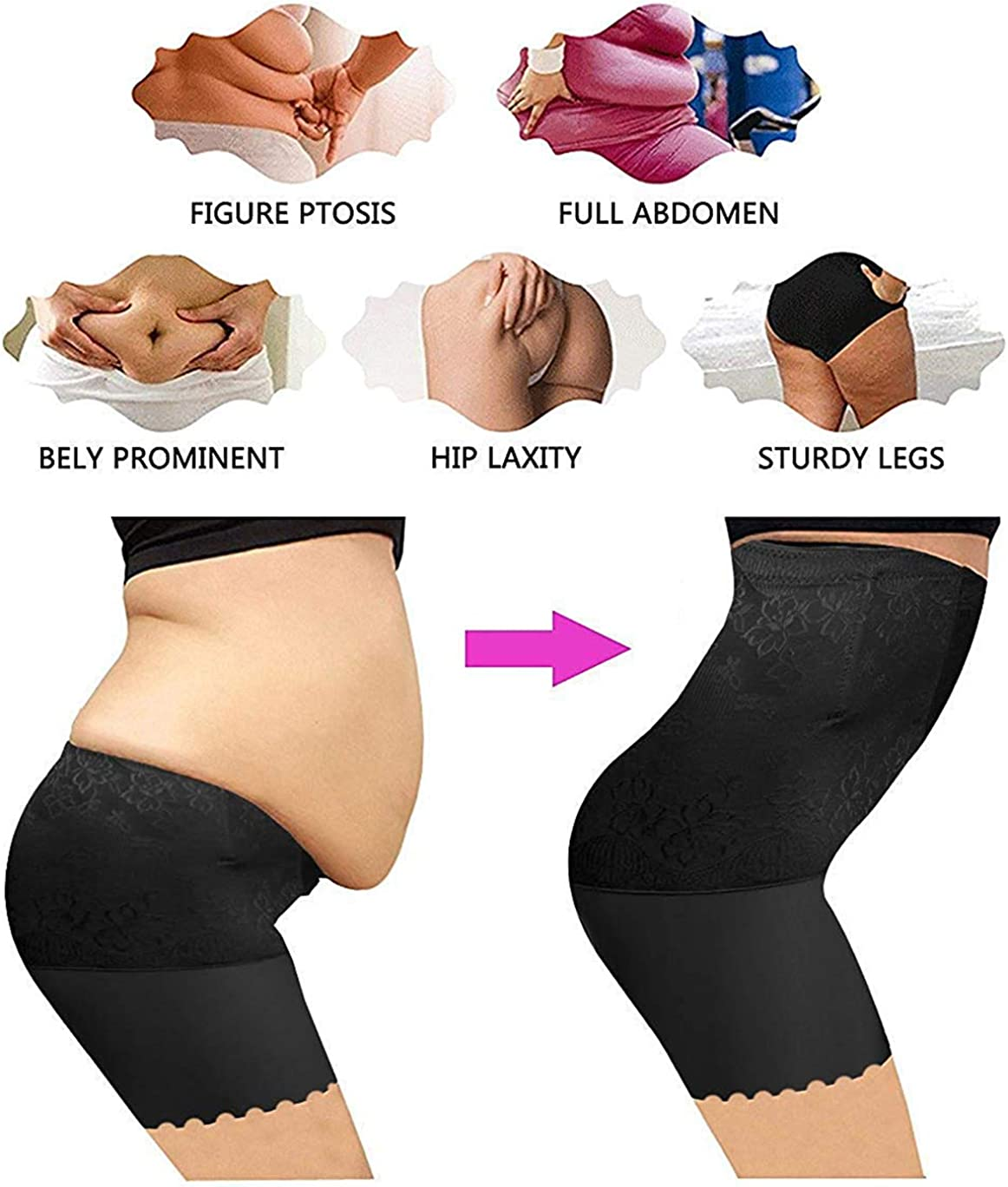 Lelinta Women Tummy Control Panties Bodyshorts Body Shaper Thigh Slimmer Butt Lifter Shapewear