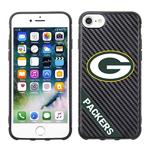 Prime Brands Group Cell Phone Case for Apple iPhone 8/7/ 6s/ 6 - Black/Carbon - NFL Licensed Green Bay Packers (NFL-CB01-I8-PAKS)