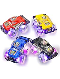 """Light Up Monster Truck set for Boys and Girls by ArtCreativity - Set Includes 2, 6"""" Monster Trucks With Beautiful Flashing LED Tires - Push n Go Toy Cars Best Gift for Kids - For Ages 3+ BOBEBE Online Baby Store From New York to Miami and Los Angeles"""