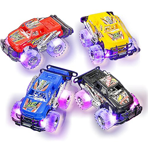 Light Up Monster Truck Set for Boys and Girls by ArtCreativity - Set Includes 2, 6 Inch Monster Trucks with Beautiful Flashing LED Tires - Push n Go Toy Cars Best Gift for Kids - for Ages 3+ -