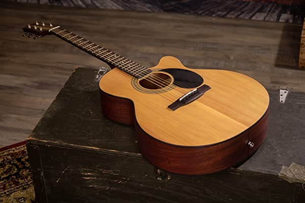 side facing jasmine s34c acoustic guitar