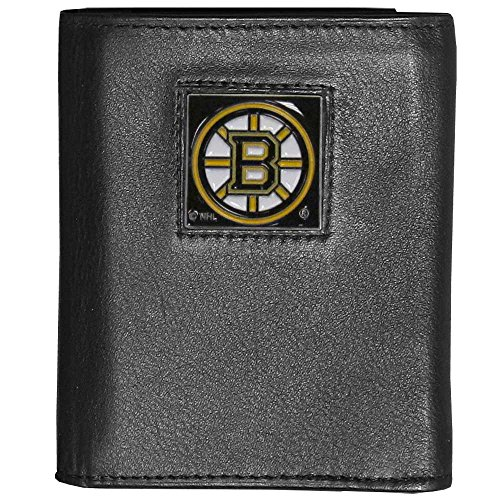 NHL Boston Bruins Deluxe Leather Tri-Fold Wallet Packaged in Gift Box, Black (Nhl Boston Bruins Card)