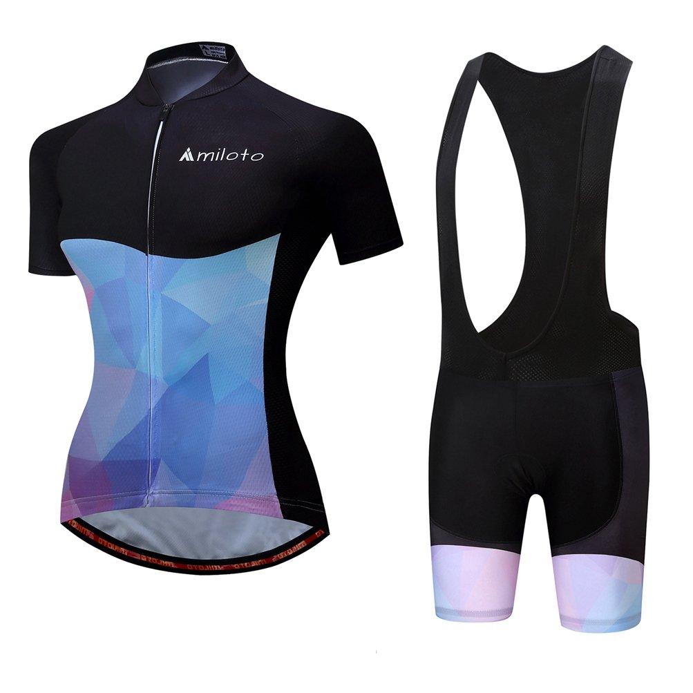 Uriah Women's Cycling Jersey Bib Shorts Sets Short Sleeve Reflective Black Blue Size 5XL(CN)