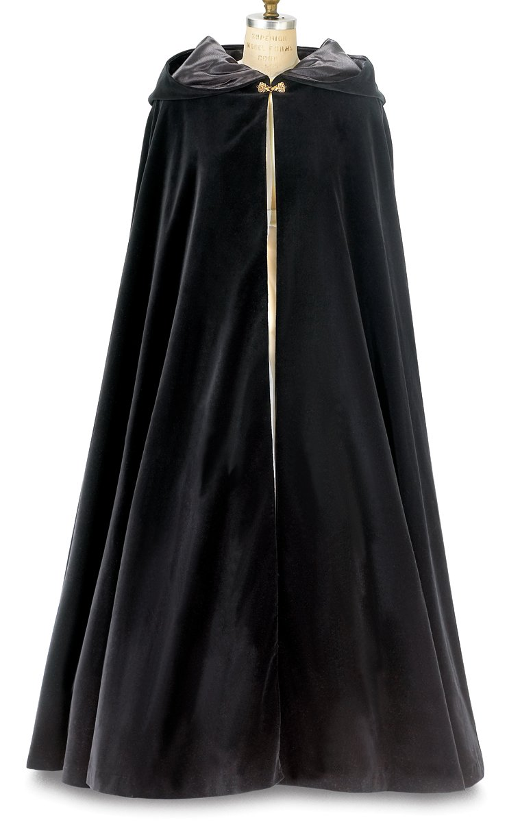 Black Wool Long Cloak with Hood ~ for Adults (Large - XLarge, Gold Clasp Closure)