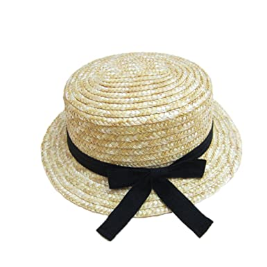 85352697b Straw Boater Hat for Children Summer Sun Hat Natural Color: Amazon ...