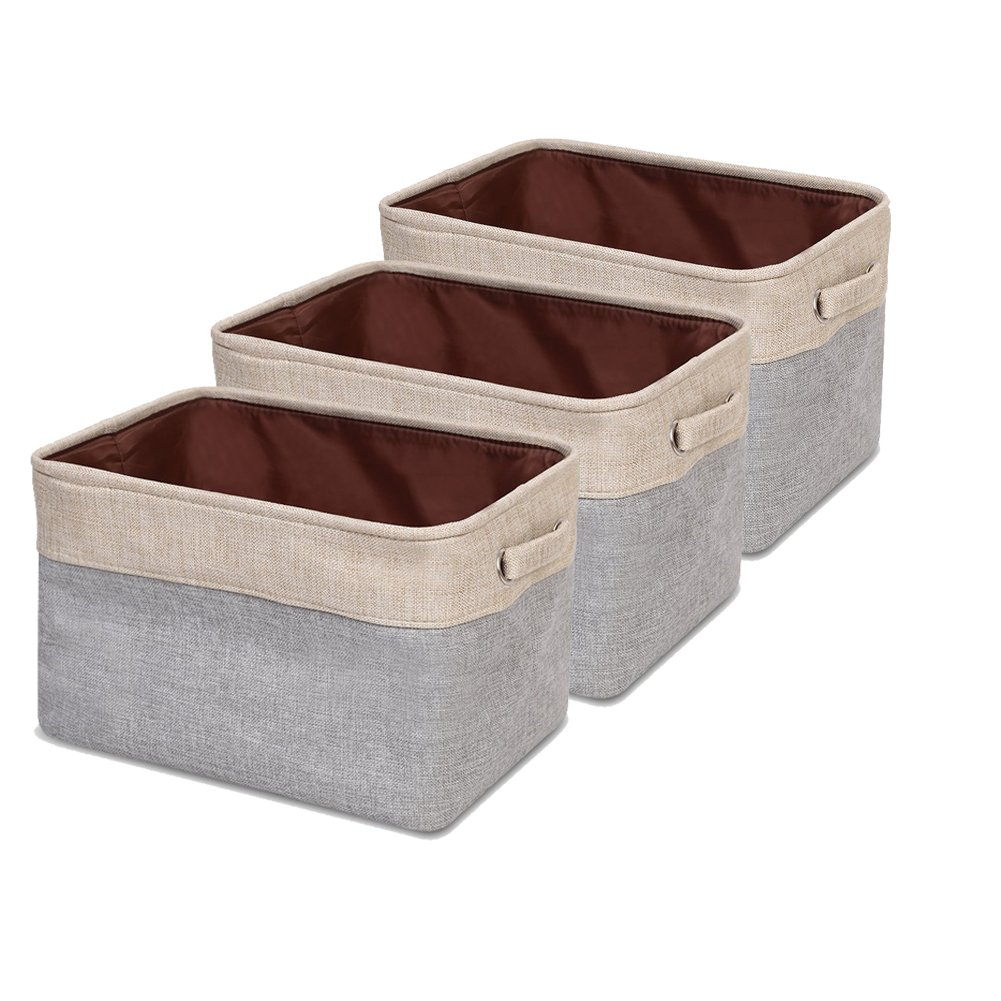Collapsible Storage Bin Basket Foldable Canvas Fabric Storage Box with Handles for Home Office Closet (Multi (Set of 3))