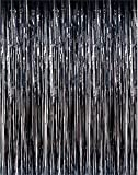 ShinyBeauty 6FTx8FT Metallic Tinsel Foil Fringe Backdrop Curtain Black for Party Wedding Photography Photobooth Backdrop (Pack of 2)