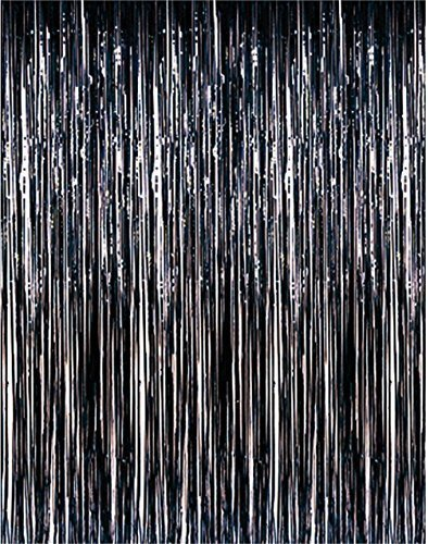 ShinyBeauty Foil Fringe Party-Black-6FTX10FT,Foil Party Curtain/Backdrop,Sweet 16 Decorations(Black)