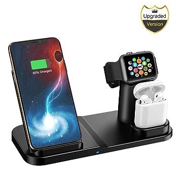 Cargador Inalámbrico, Base de Carga Inalámbrica 3 en 1 Carga Estación para iPhone Apple iWatch Airpods Teléfono Soporte de Tableta de Escritorio ...