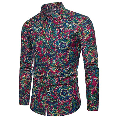 - Men's Retro Cotton Big Wave Retro Flower Bud Print Hipster Tailored Button up Slim fit Lightweight Long Sleeve Shirts