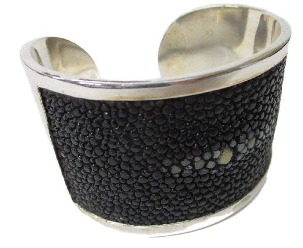 Drumsurn Imports Genuine Stingray Leather Silver Cuff, Black