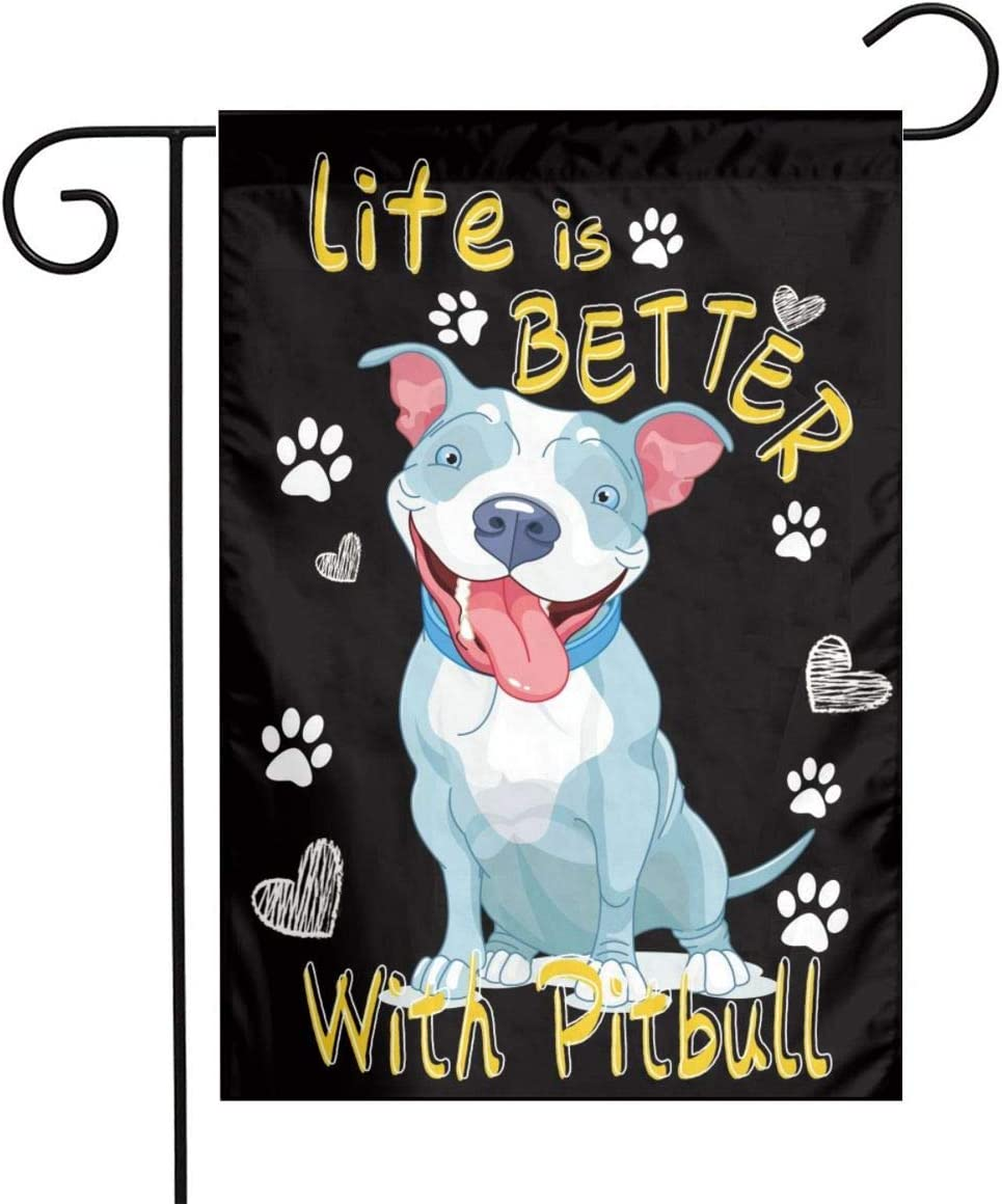 Life is Better with a Pitbull Flag Pit Bull Garden Flag Happy Dog Garden Flags 12 x 18 Double Sided Seasonal Paw Print Flag for Patio Lawn Yard Home Decor
