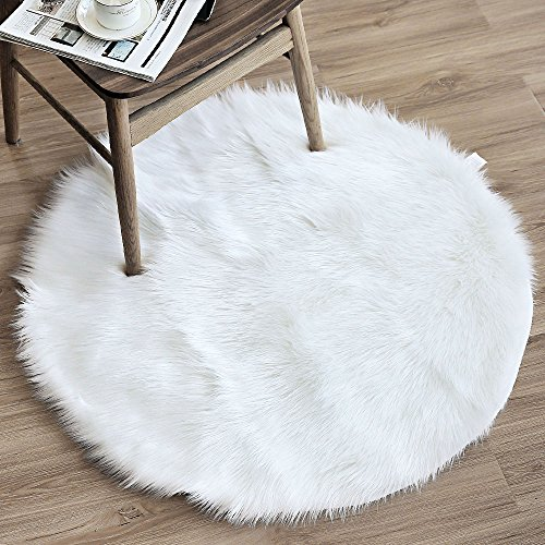OJIA Deluxe Soft Modern Faux Sheepskin Shaggy Area Rugs Children Play Carpet (Mirrored Round Bed)