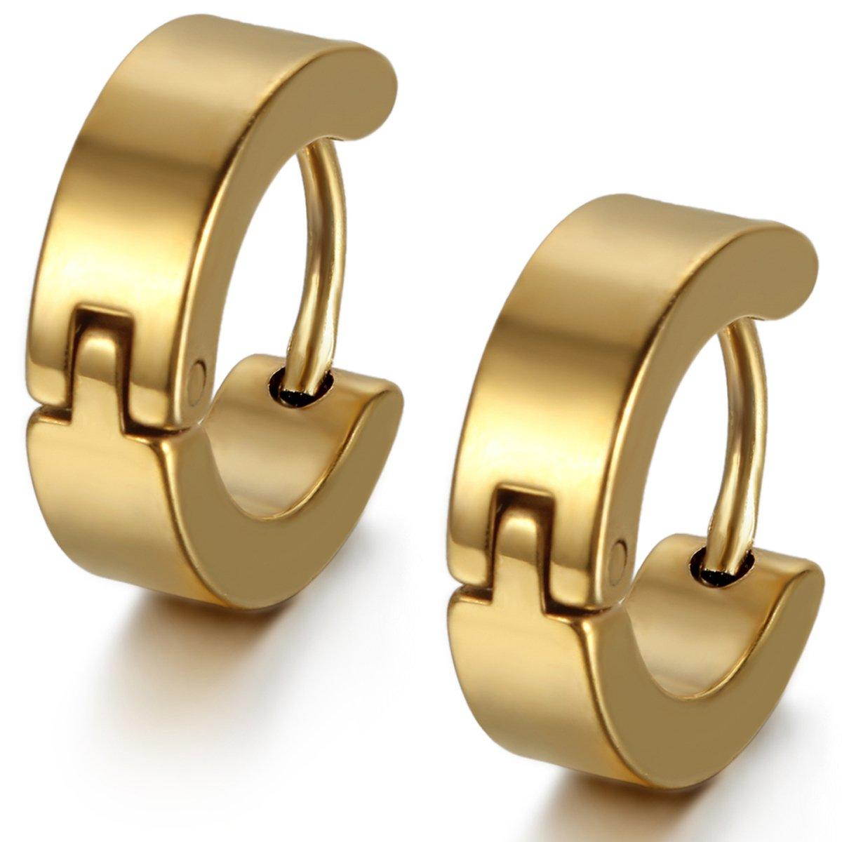 Flongo Men's Classic Stainless Steel Plain Charm Elegant Stud Hoop Huggie Earrings FLG04623