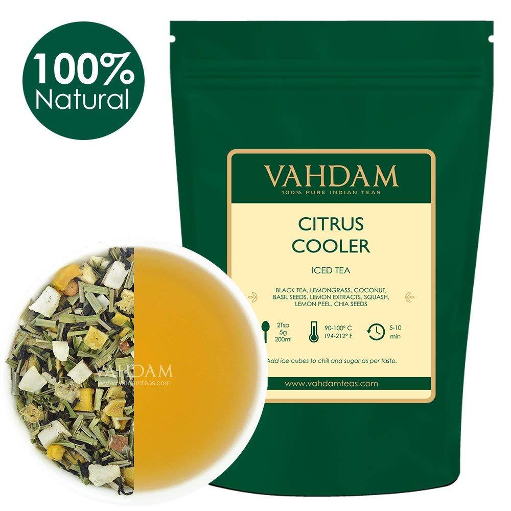 VAHDAM, Té Helado Citrus Cooler | 40 porciones, 8 cuartos | Ingredientes 100% naturales | Sabor delicioso de té negro y limón cítricos | Té helado de ...