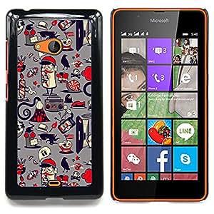 Paper Pattern French Grey Caja protectora de pl??stico duro Dise?¡Àado King Case For Microsoft Nokia Lumia 540 N540