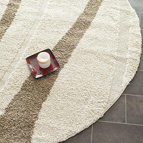 Safavieh Willow Shag Collection SG451-1128 Cream and Dark Brown Round Area Rug (4' ()