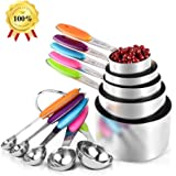 GEHARTY Stainless Steel Measuring Cups and Spoons for Kitchen DIY Making - 10 Piece Set (5 Cups and 5 Spoons, Plus 2 Rings) with Soft Silicone Handles to Measure Dry and Liquid Ingredients.