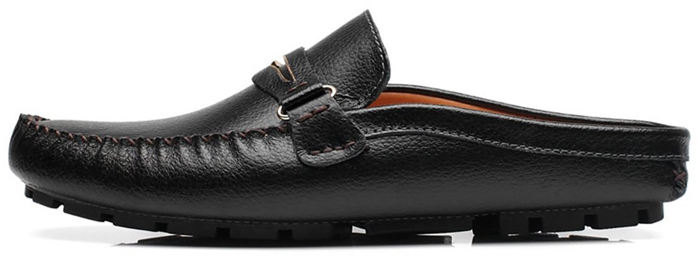 Men's Backless Loafer Featuring Slippers Hollow Comfortable Soft Scuff Tassels Leather Slippers Slip-on Loafters Shoes (10 D(M) US, 9 Black)