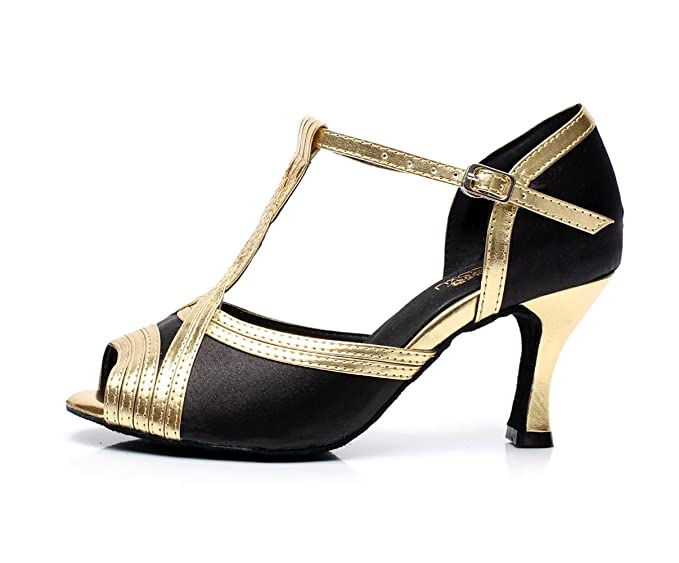 JSHOE Damen Sandalen Flared Heel Super Satin mit Funkelnden Glitter Tanzschuhe,Gold-heeled7.5cm-UK6/EU39/Our40