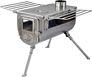 Winnerwell Woodlander Double-View Large Tent Stove | Portable Wood Burning Tent Stove for Tents, Shelters, and Camping | 1500 Cubic Inch Firebox | Stainless Steel Construction | Includes Chimney Pipe