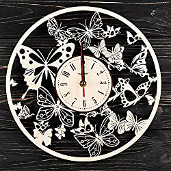 7ARTS Waltz of Butterflies Wooden Clock – Decorative Wall Clock Made from Eco Wood with Silent Quartz Movement and Autonomous Power Source - Can be Painted, Great Gift Idea