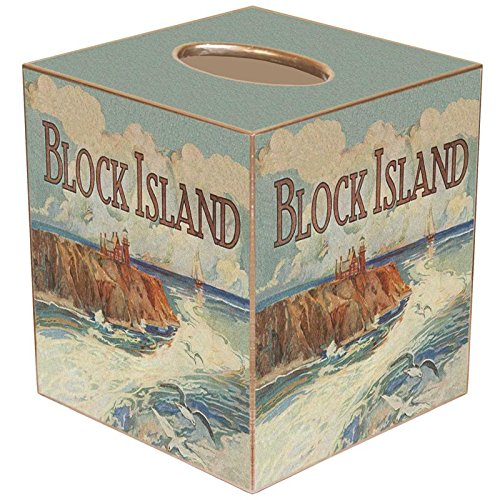 Block Island Southeast Lighthouse Paper Mache Tissue Box Cover