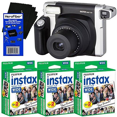 Fujifilm INSTAX 300 Wide-Format Instant Photo Film Camera (Black/Silver) + Fujifilm instax Wide Instant Film (60 sheets) + HeroFiber Ultra Gentle Cleaning Cloth by HeroFiber