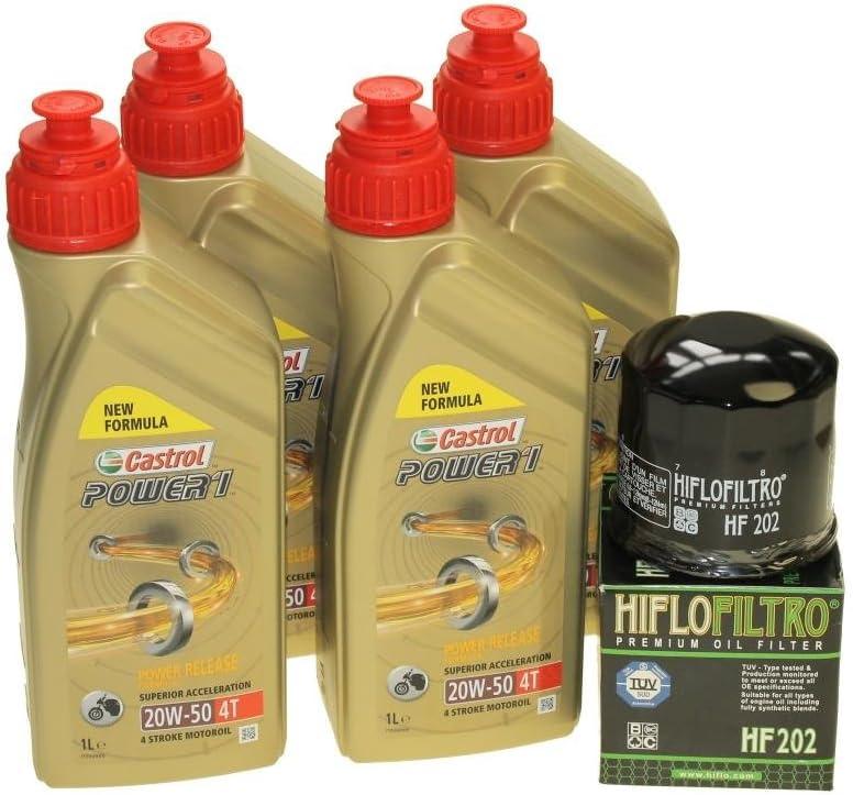 Öl Wechselset 4 Liter Castrol Sae 20w 50 Act Evo 4t Mineralisch Inkl Ölfliter Hiflo Hf202 Für Honda Cbr 400 Cbx 750 Vf 500 750 1000 Xlv Kawasaki En Gpz Vn Auto