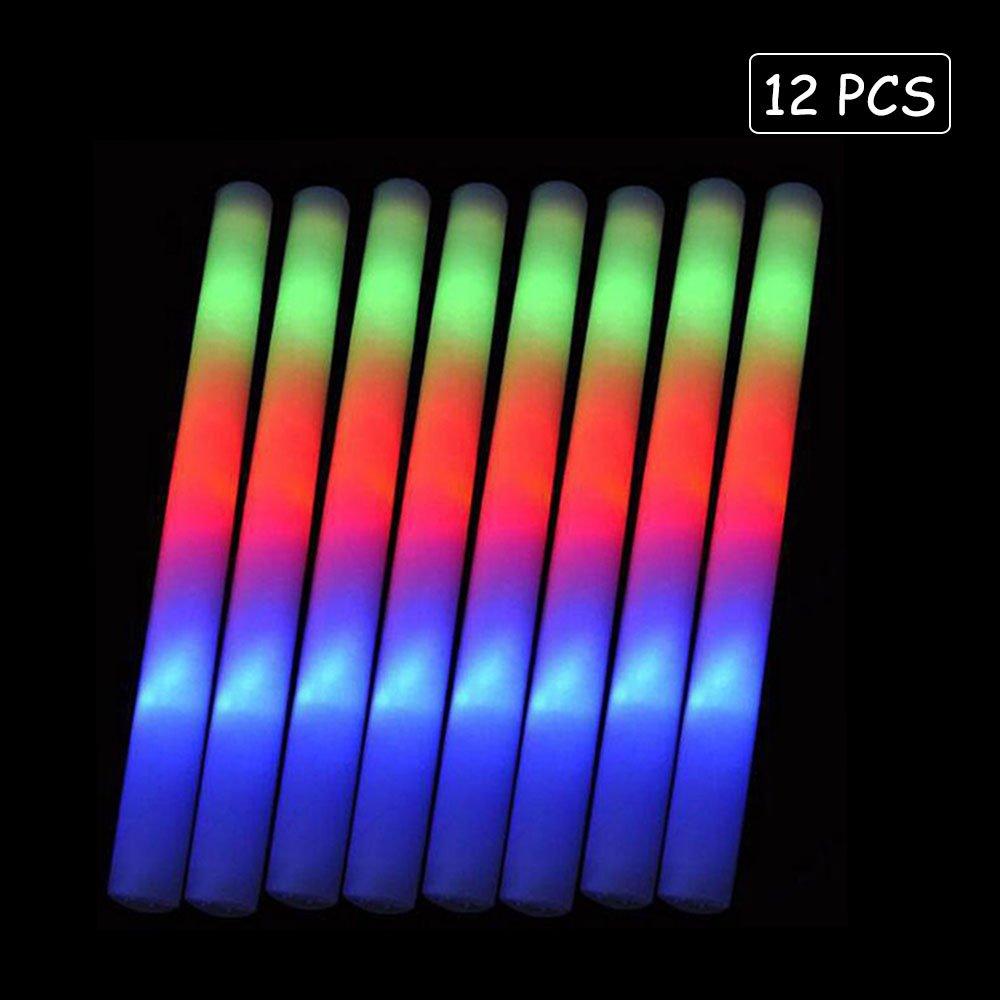 Lifbeier Glow Sticks Party Pack - 12 PCS LED Flashing Light Up Foam Sticks Ideal for Birthday Wedding Decorations