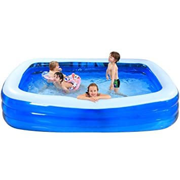 Aufblasbares Schwimmbecken Große Familie Kinderplanschbecken Schwimmbecken  Für Erwachsene Schwimmbecken Mit Drei Ringen, Blau, Maße