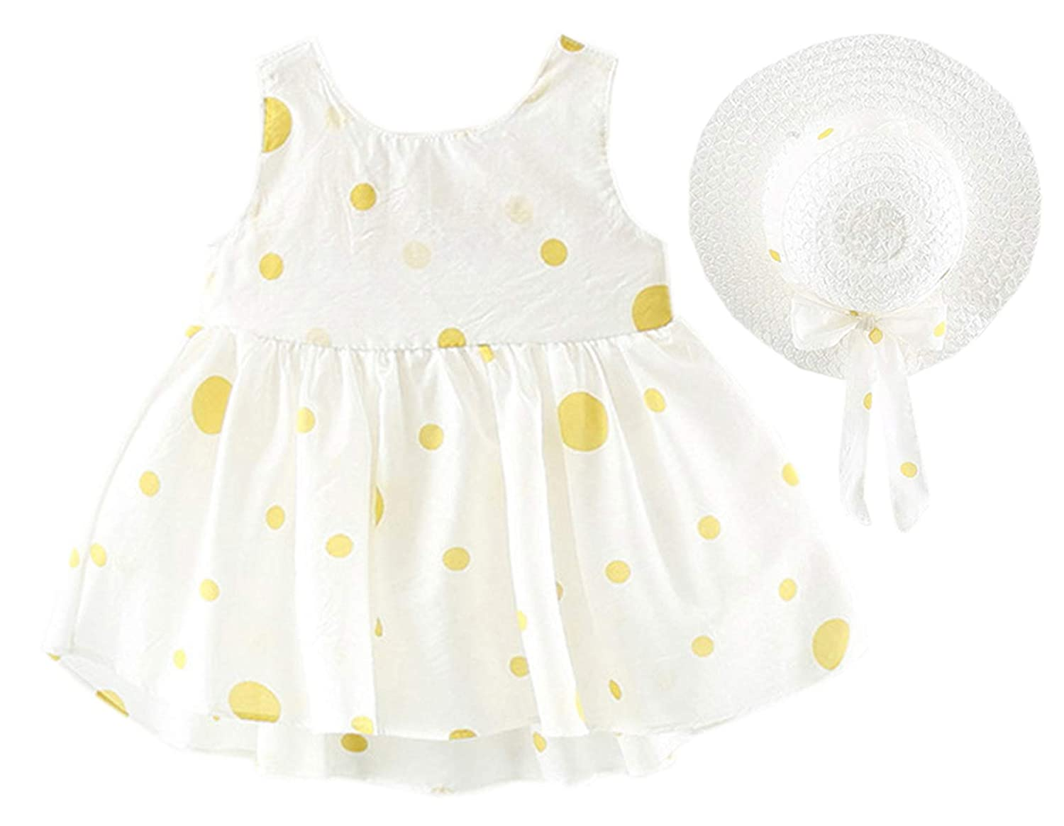 3 Years 6 Month Baby Girls Dress Outfit with Sun Hat