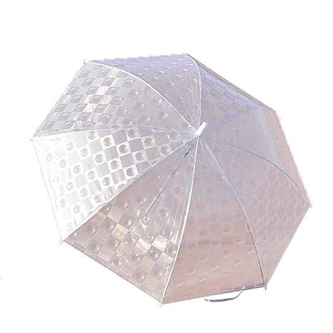 Guoke Estudiantes De Mango Largo Creativa Paraguas Paraguas Transparente Grueso De Color Sólido Princesa Doble Paraguas