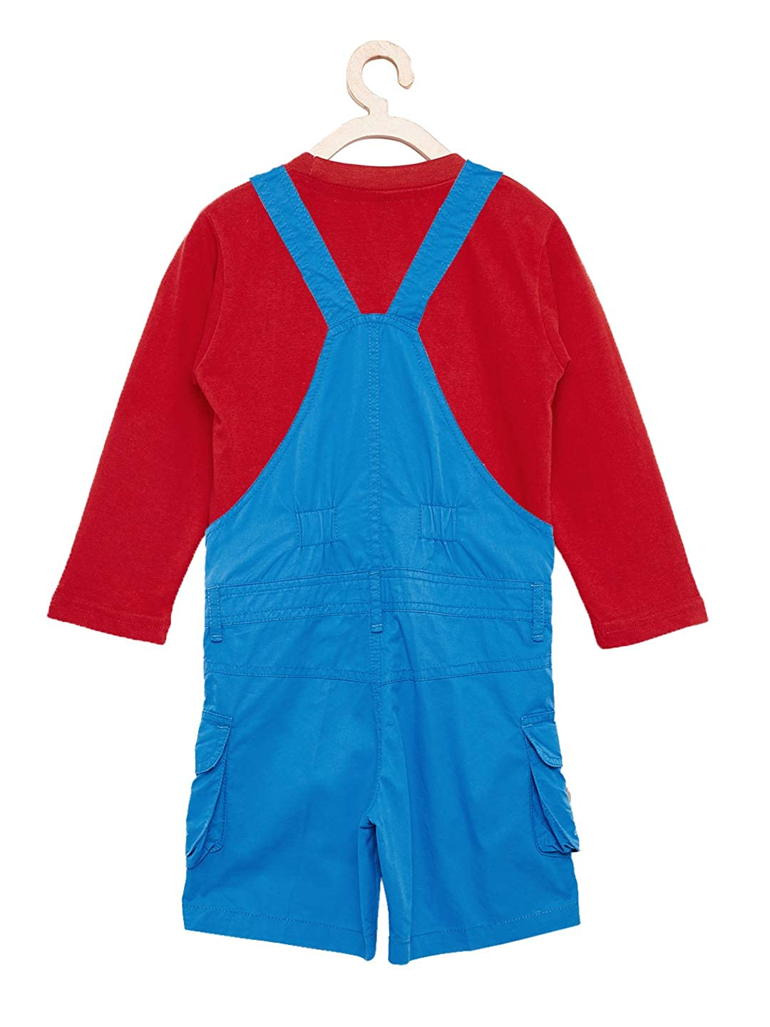 3007e1f8830 FirstClap Cotton Knee Length Dungaree and T-Shirt Set